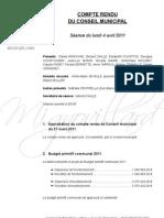 Mignovillard - Compte rendu du Conseil municipal du 4 avril 2011