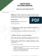 Mignovillard - Compte rendu du Conseil municipal du 6 décembre 2010