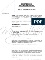 Mignovillard - Compte rendu du Conseil municipal du 1er février 2010