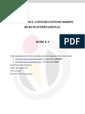 Daftar Judul Contoh Contoh Skripsi Hukum Internasional Kode E 4