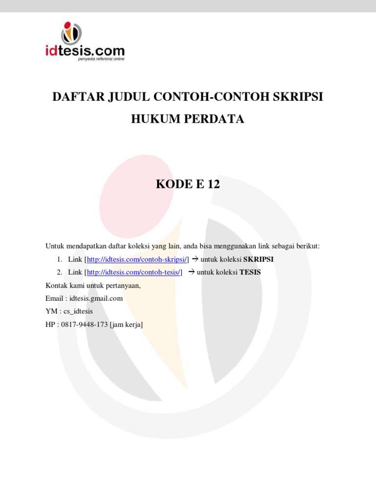 Daftar Judul Contoh Contoh Skripsi Hukum Perdata Kode E 12