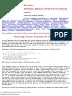 Maenads, Women Followers of Dionysus
