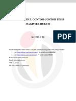 Daftar Judul Contoh-contoh Tesis Magister Hukum - Kode e 01