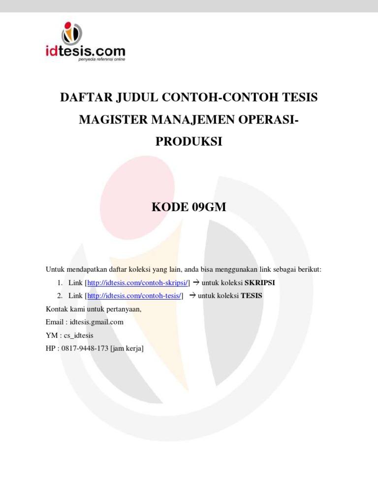 Daftar Judul Contoh Contoh Tesis Magister Manajemen Operasi