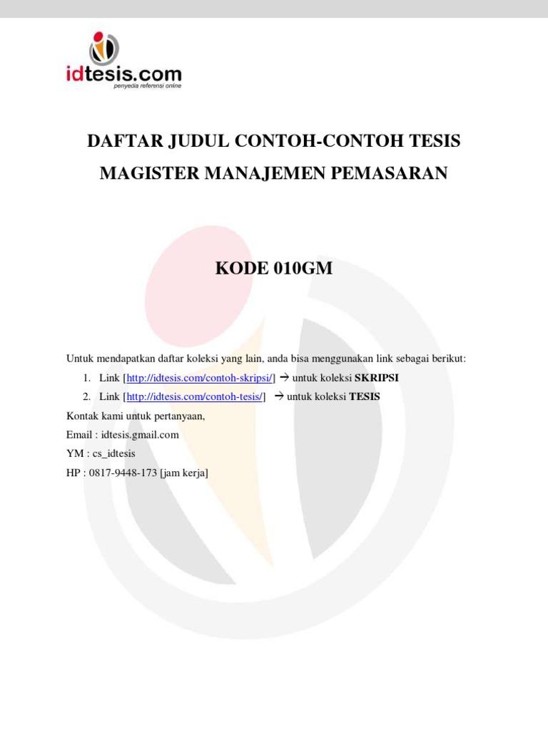 Daftar Judul Contoh Contoh Tesis Magister Manajemen Pemasaran 010gm