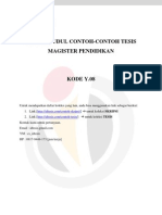 Daftar Judul Contoh-contoh Tesis Magister Pendidikan Kode y.08