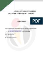 Daftar Judul Contoh-contoh Tesis Magister Sumber Daya Manusia Kode y