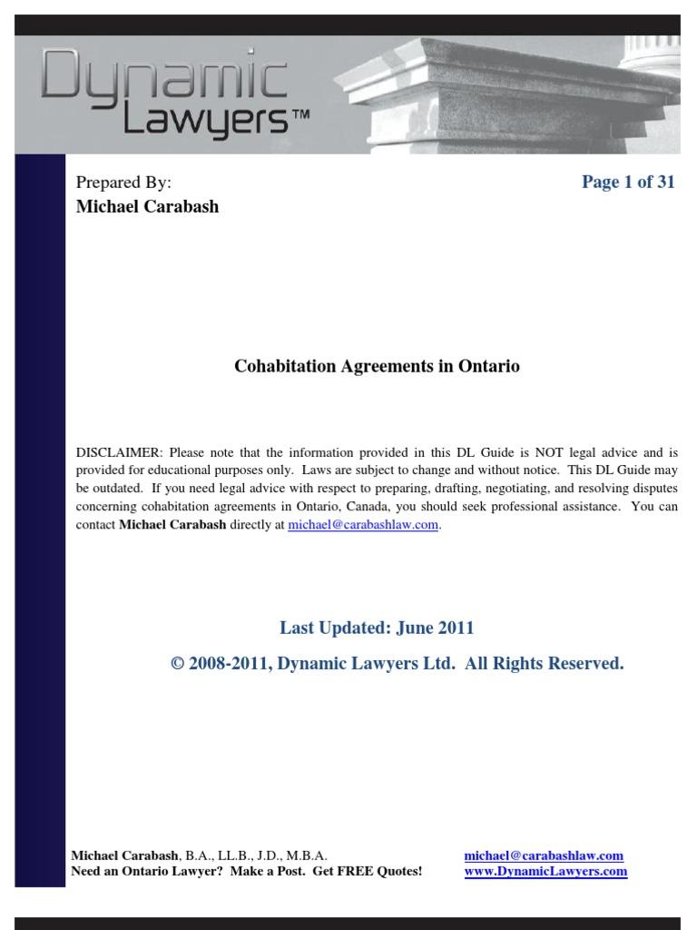 Cohabitation Agreement Ontario (Sample) | Cohabitation | Lawyer