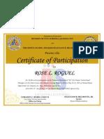 Certificate, IM's Traning SB