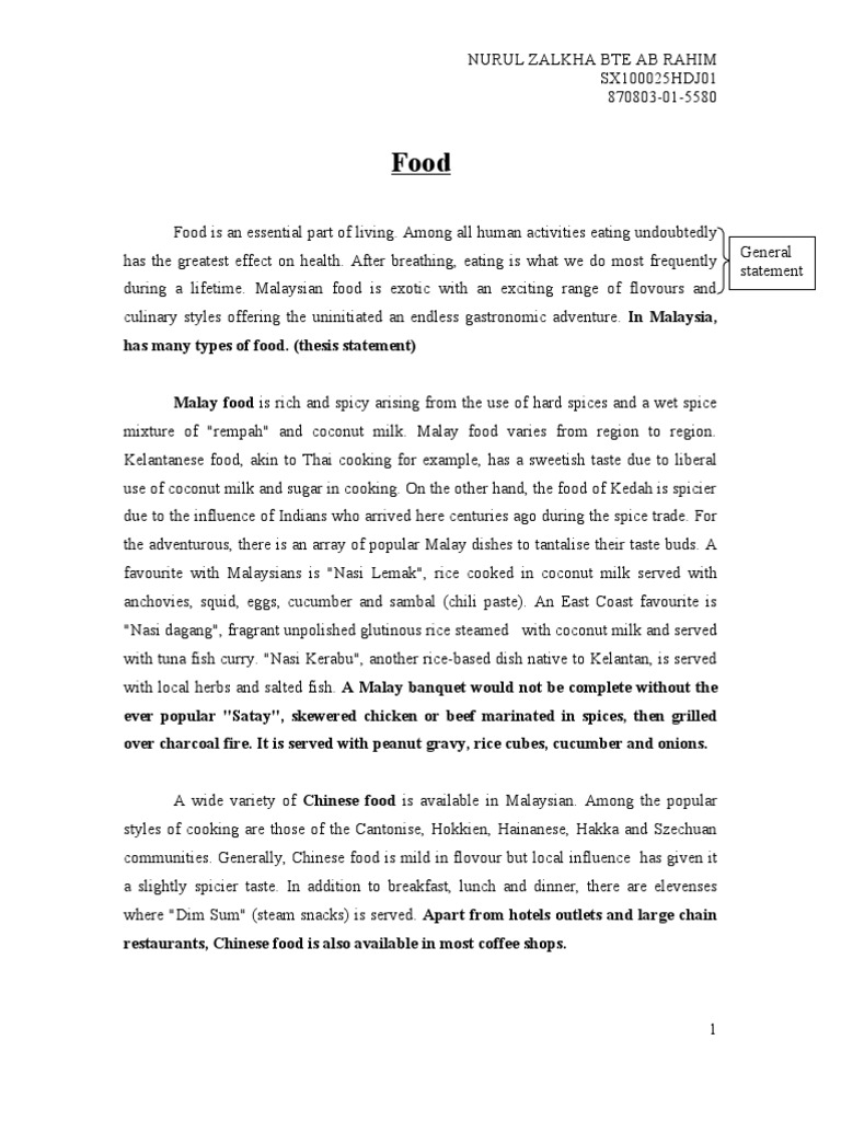 Essay about traditional food