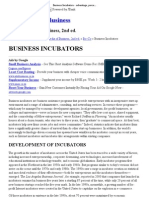 Business Incubators - Advantage, Percentage, Benefits, Cost, Development of Incubators, Advantages of Incubators, Factors to Weigh in Choosing an Incubator, Recent Incubator Innovations