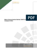 Maxis Communications Berhad Swot Analysis n Company Profile