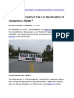 2010 So, Canada Endorsed the UN Declaration of Indigenous Rights