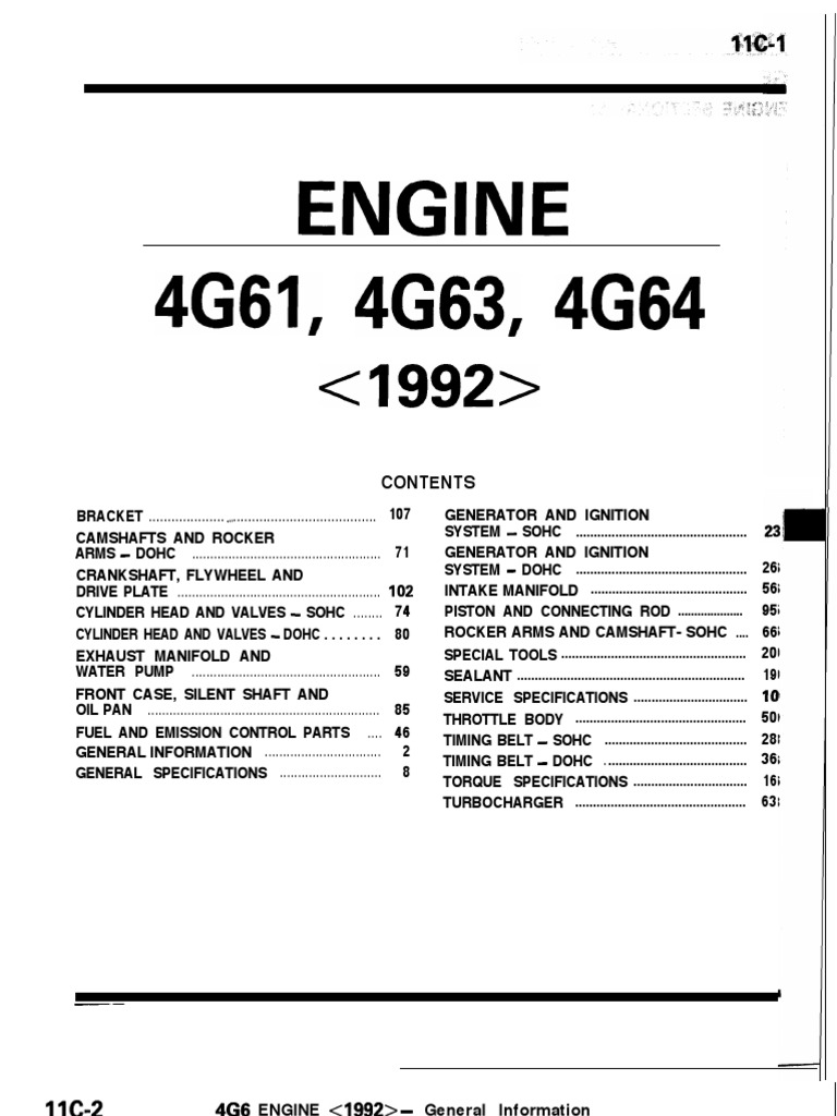 Mitsubishi 4g63 Engine Repair Manual - Best Setting Instruction Guide