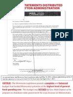 Dayton Administration Distributes False Information