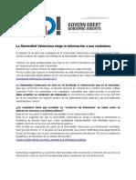 La Generalitat Valenciana niega la información a una ciudadana