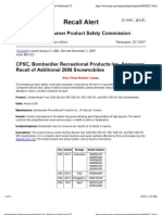 CPSC, Bombardier Recreational Products Inc. Announce Recall of Additional 2006 Snowmobiles
