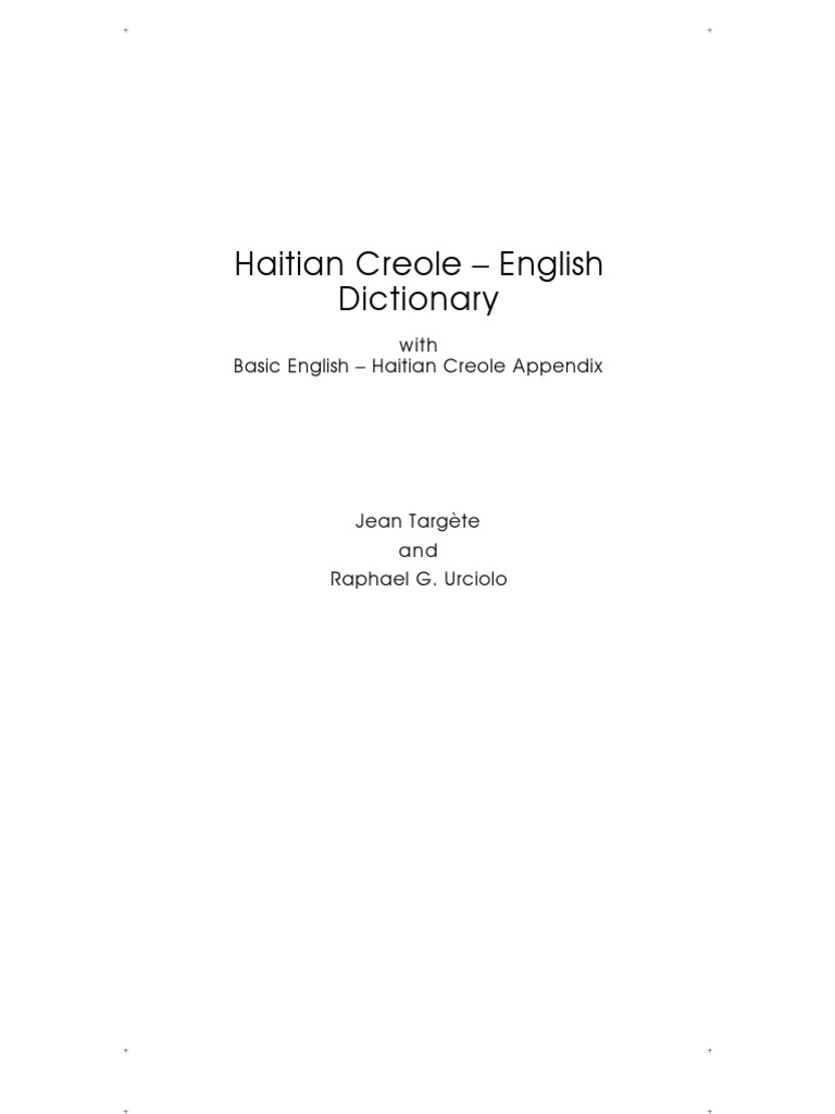 Hatian Creole English Dictionary 2nd Printing | Adjective | Pronoun