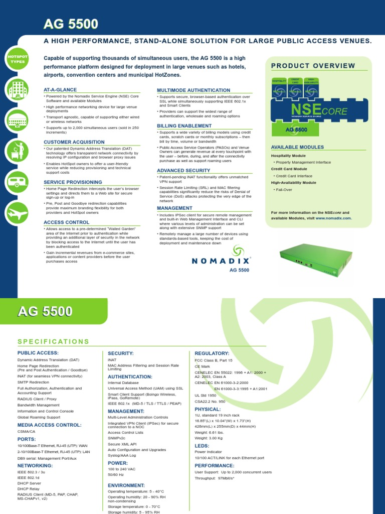 Data Sheet - Nomadix AG5500   Proxy Server   Computer Network