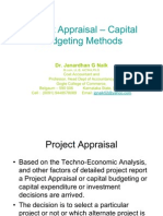 Project Appraisal – Capital Budgeting Methods