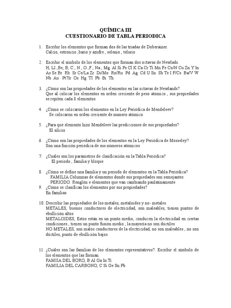 Cuestionario de la tabla periodica resuelto urtaz Gallery