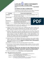 MBA Exam Instructions