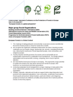 Statement by the Social Organizations Major Group at the 2011 Ministerial Conference on the Protection of Forests in Europe