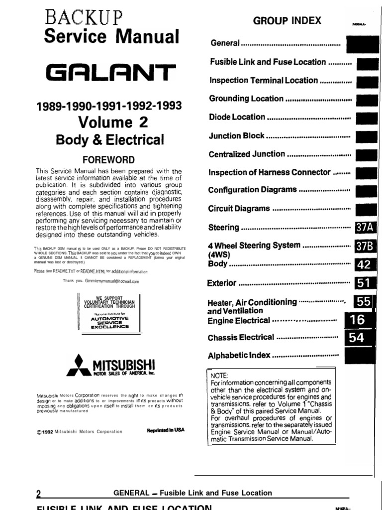 Galant 89-93 Service Manual Body \u0026 Electric   Troubleshooting   Fuse  (Electrical) [ 1024 x 768 Pixel ]