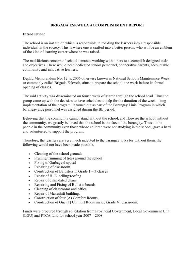 Brigada Eskwela Accomplishment Report