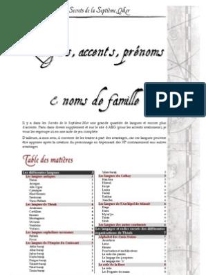Langues Accents Noms & Prenoms (7th Sea) | Communication | Physique