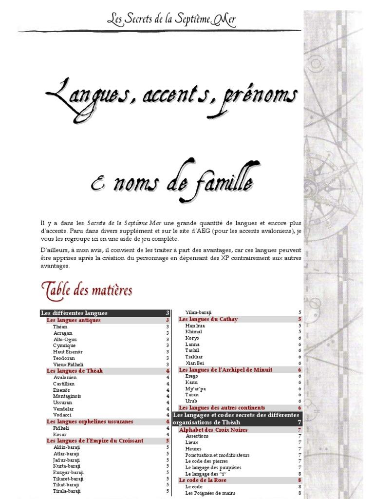 f702583c8ac Langues Accents Noms & Prenoms (7th Sea)   Communication   Physique et  mathématiques