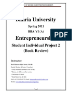 Prof Manzoor Iqbal Awan-Entrepreneurship-Bahria University Student Projects (Book Review)-Spring 2011
