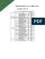 Medii clasa a X-a A
