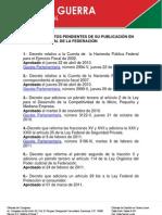 10-06-11 LEYES O DECRETOS PENDIENTES DE SU PUBLICACIÓN EN EL DIARIO OFICIAL DE LA FEDERACIÓN