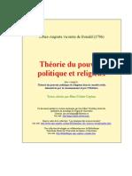 Louis de Bonald - Théorie du pouvoir politique et religieux