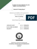 Travancore Titanium Products Industrial Training report