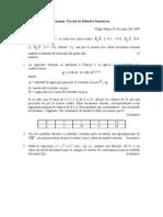 Examen  Parcial de Métodos Numéricos