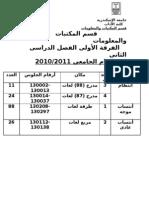 أرقام الجلوس لامتحانات العام الدراسي 2010 - 2011 الفصل الدراسي اللثاني
