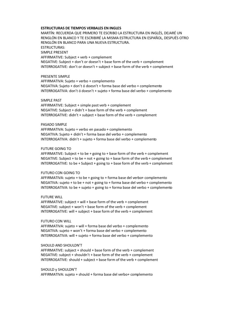 Estructuras De Tiempos Verbales En Ingles