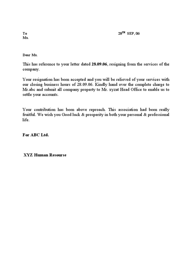 Resignation cum relieving letter yadclub Choice Image