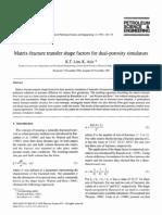 Matrix-Fracture Transfer Shape Factors for Dual-porosity Simulators (Lim & Aziz)