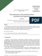 Mathematics of the Portfolio Frontier