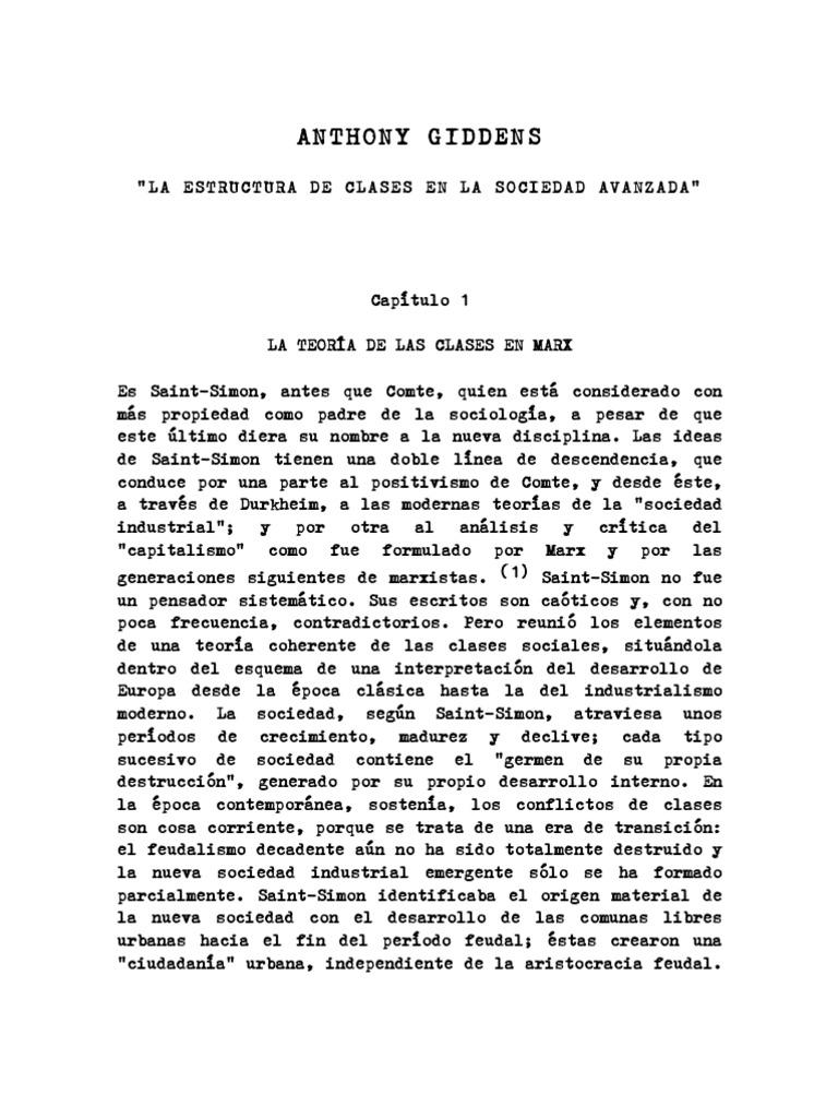 Giddens Anthony La Estructura De Clases En La Sociedad