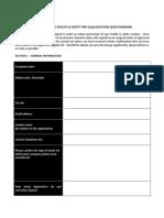 Suppliers H&S Pre Qualification Questionnaire