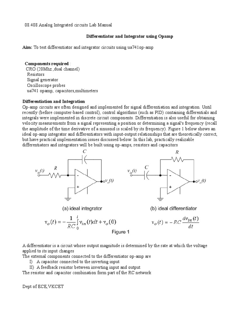 differentiator&integrator | Operational Amplifier | Amplifier