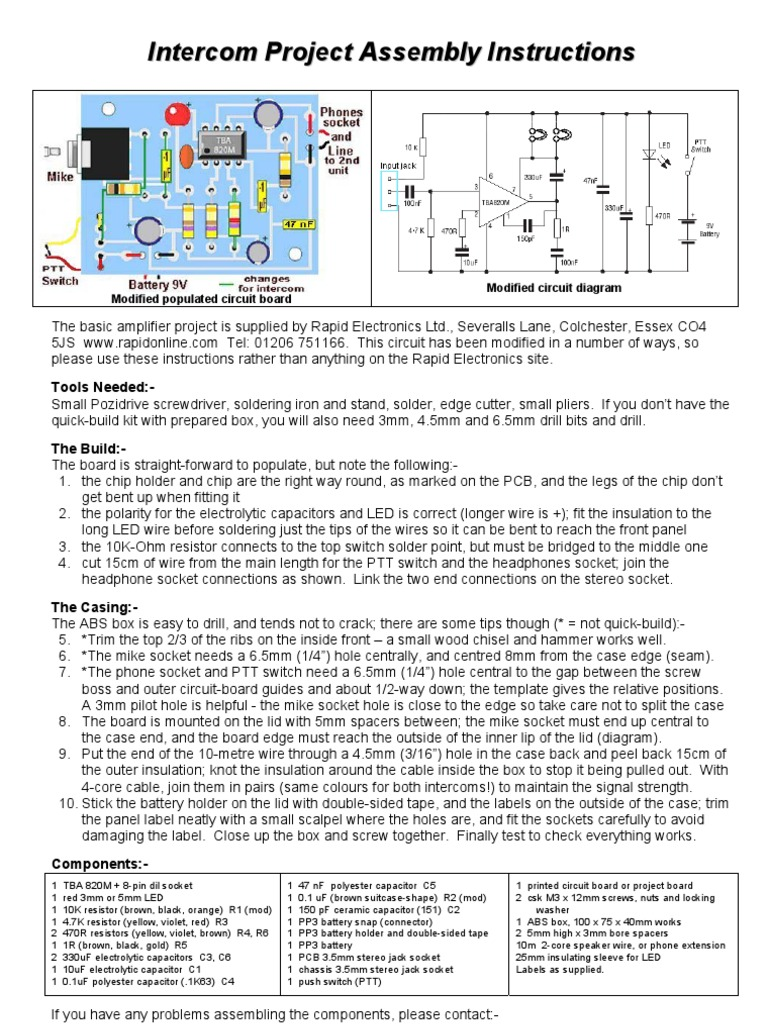 Intercom Instructions Headphones Electrical Connector Wiring Diagram For Uk Phone Extension As Well Faceplate Line