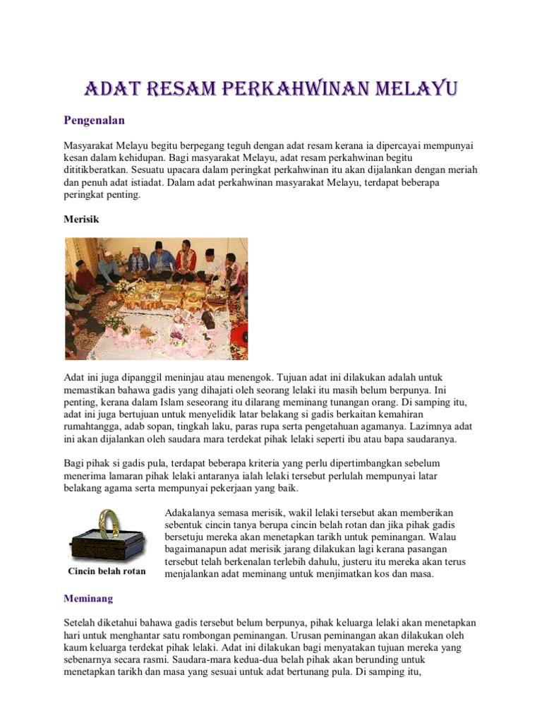 Persamaan Perbezaan Adat Perkahwinan Kaum Melayu