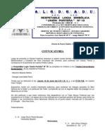 CONVOCATORIA Resp. Log.  Unión Porteña Nº 10 - Tenida Extraordinaria de Iniciación