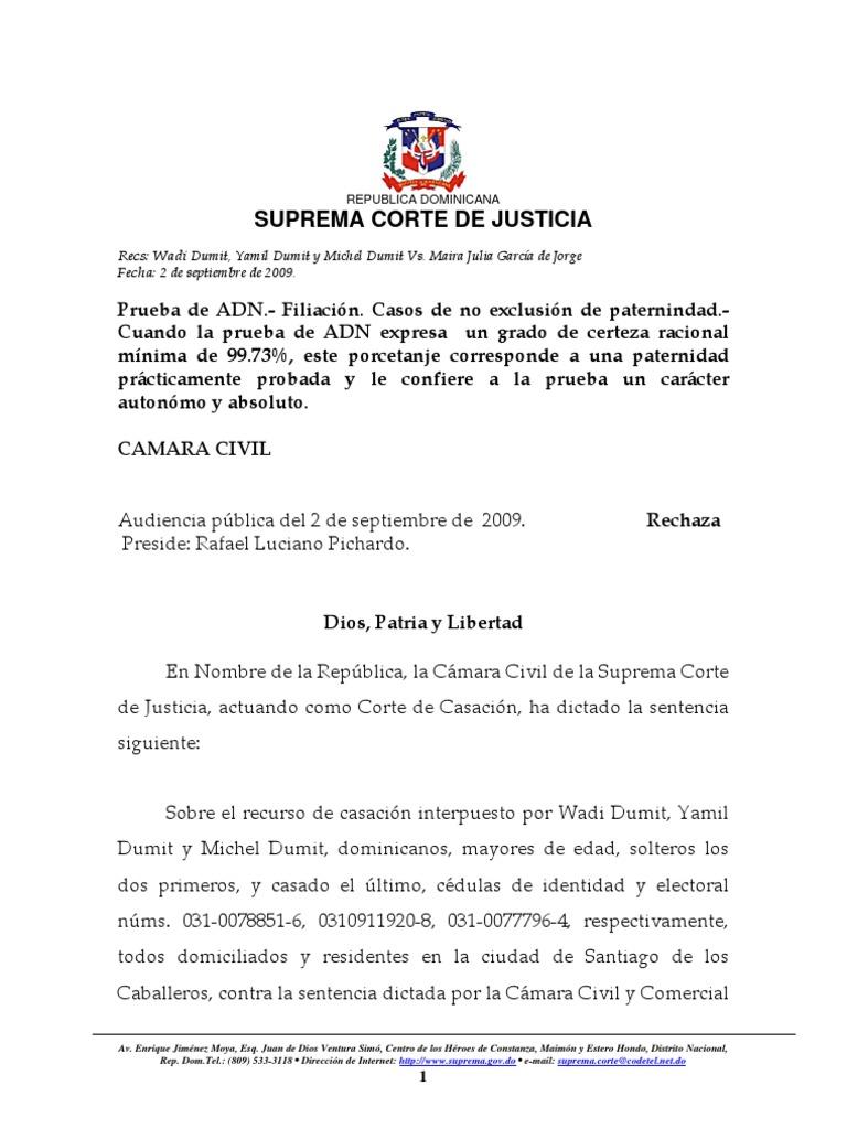 Sentencia prueba de adn filiaci n republica dominicana for Derecho de paternidad