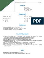 Matematikai képletek, szabályok a záróvizsgára